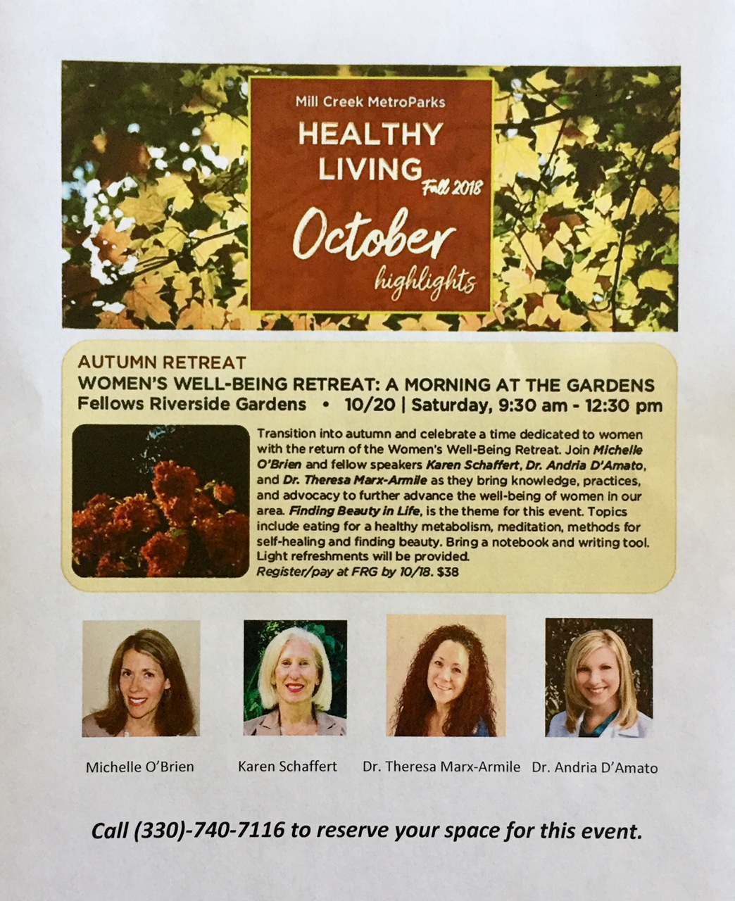 Flyer for Women's Well-Being Retreat in Mill Creek Park