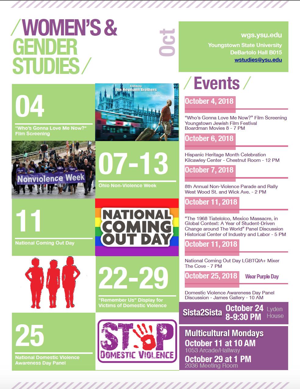 Calendar of October 2018 Events