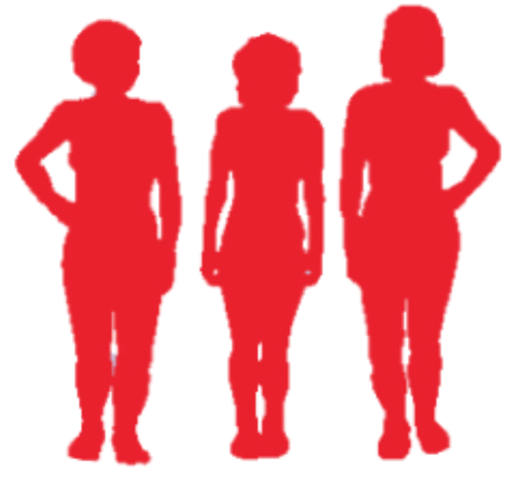 Three red silhouettes in the shape of women