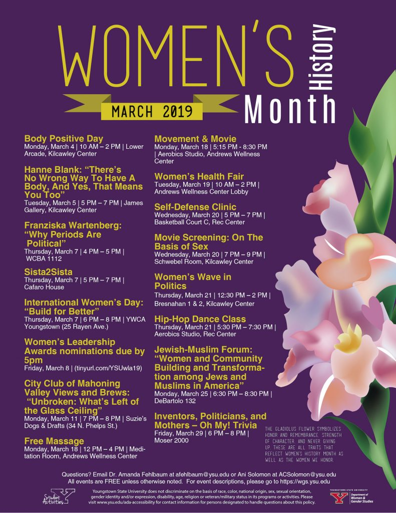 Calendar of Women's History Month Events