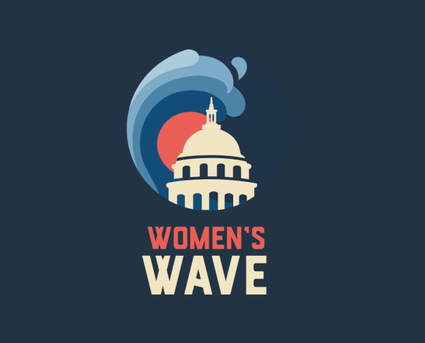 """Image featuring a wave over the capitol building with the words """"Women's Wave"""" under it."""