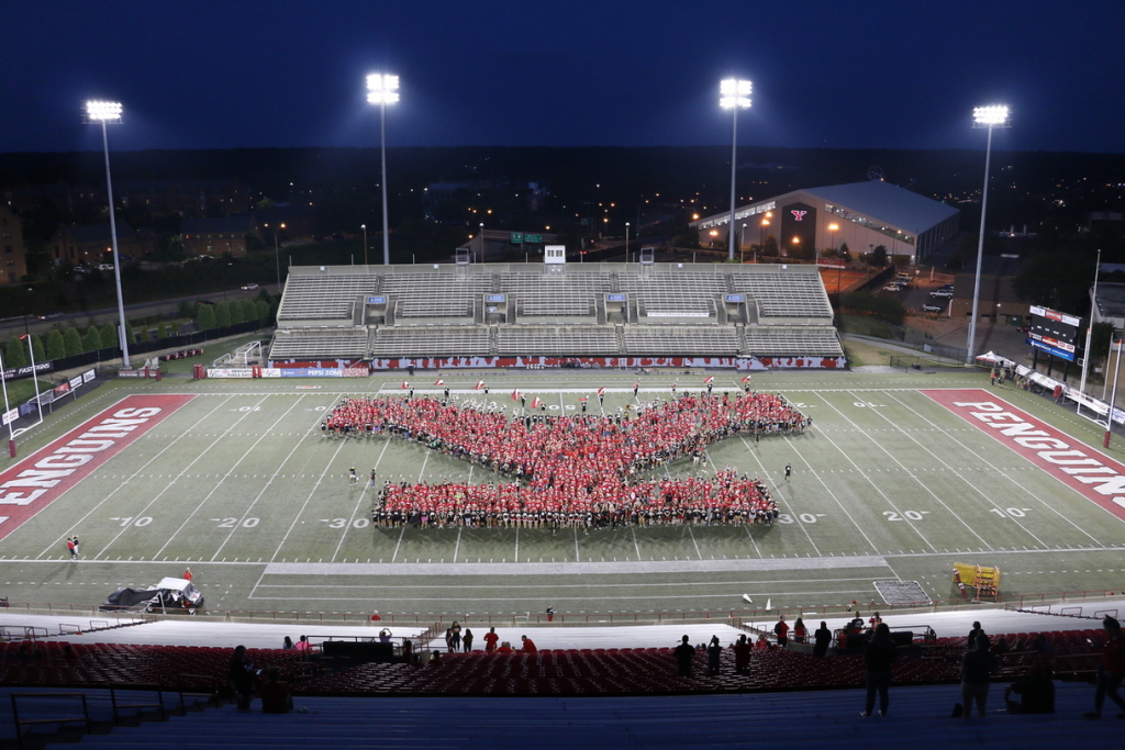 Y formation on the Youngstown Football field