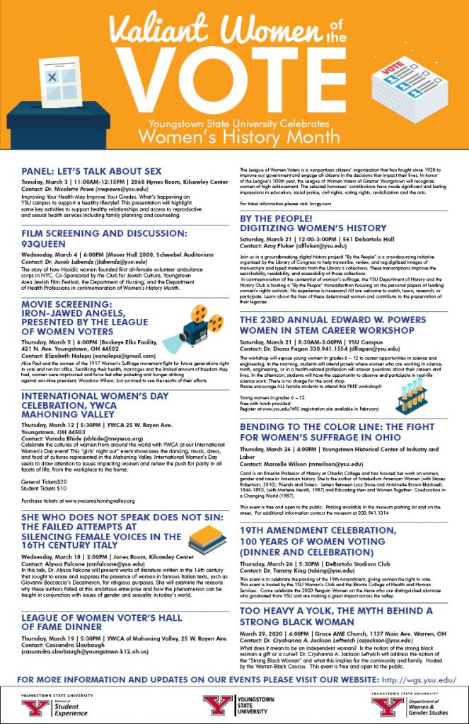 Flyer of Women's History Month Events